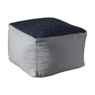 An Image of Franco Fabric Upholstered Square Pouffe In Charcoal