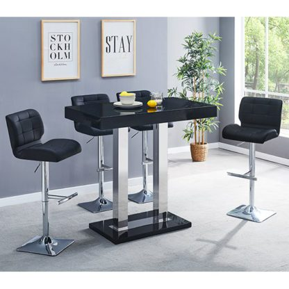 An Image of Caprice Glass Bar Table In Black With 4 Black Candid Stools