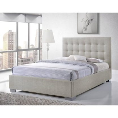 An Image of Addison Fabric Double Bed In Sand With Chrome Feet
