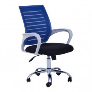 An Image of Bicot Home And Office Chair In Blue And White Armrests