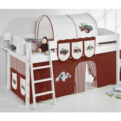 An Image of Lilla Children Bed In White With Tractor Brown Curtains