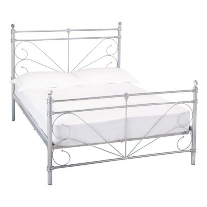 An Image of Sienna Metal Double Bed In Silver