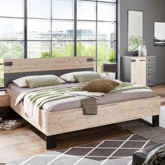 An Image of Malmo Wooden Double Bed In Silver Fir And Graphite