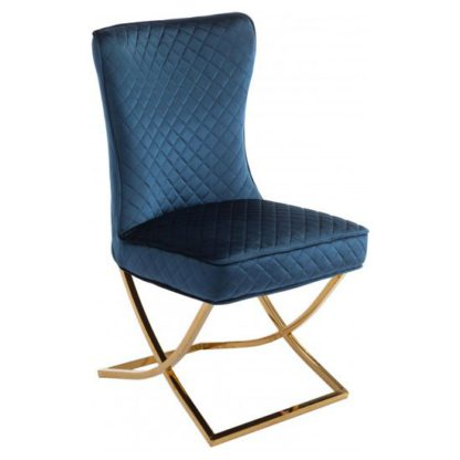 An Image of Lorenzo Blue Velvet Dining Chair With Gold Legs