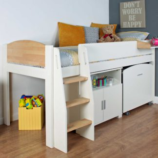 An Image of Urban Birch Childrens Midsleeper Bed with pull out Desk and Cupboard