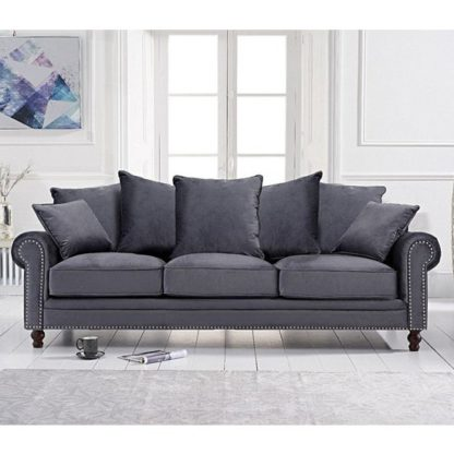 An Image of Ellopine Plush Fabric Upholstered 3 Seater Sofa In Grey