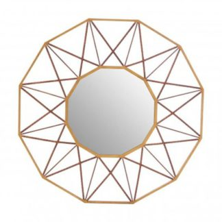 An Image of Zaria Geo Wall Bedroom Mirror In Antique Gold Frame