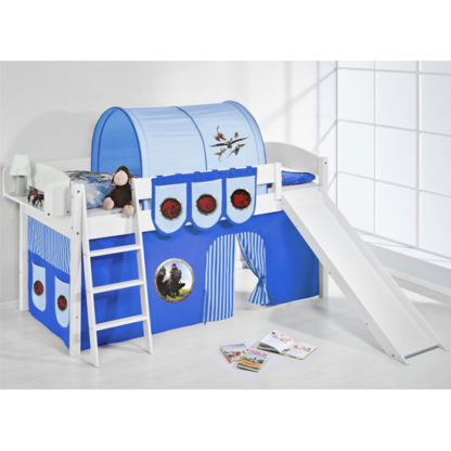An Image of Lilla Slide Children Bed In White With Dragons Blue Curtains