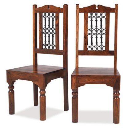An Image of Zander Wooden High Back Dining Chairs In A Pair With Square Legs