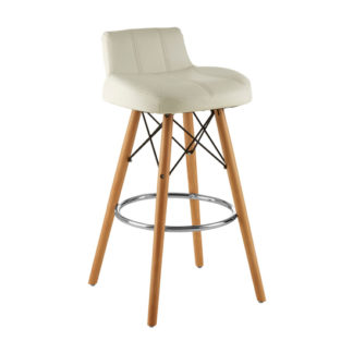 An Image of Porrima Faux Leather Effect Bar Stool In White