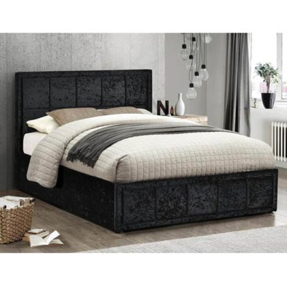 An Image of Hannover Ottoman Fabric Double Bed In Black Crushed Velvet