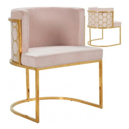 An Image of Meta Pink Velvet Dining Chairs In Pair With Gold Legs