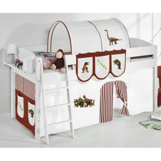 An Image of Lilla Children Bed In White With Dinosaur Brown Curtains