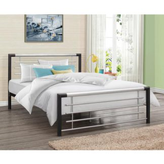 An Image of Faro Steel Small Double Bed In Black And Silver