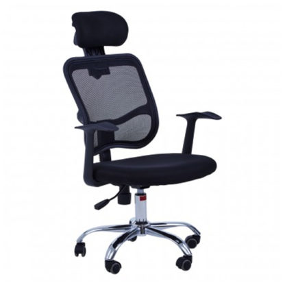 An Image of Wivon Home And Office Rolling Base Fabric Chair In Black