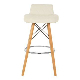 An Image of Porrima Faux Leather Bar Stool In White With Natural Legs