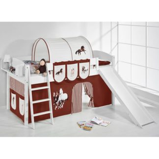 An Image of Lilla Slide Children Bed In White With Horses Brown Curtains