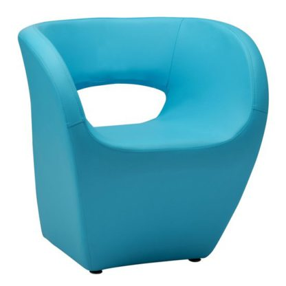 An Image of Alfro Faux Leather Effect Bedroom Chair In Blue