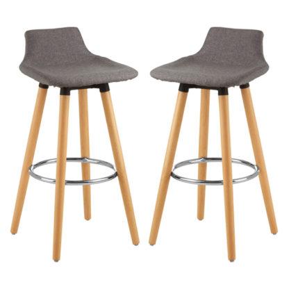 An Image of Porrima Grey Fabric Seat Bar Stools In Pair