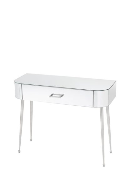 An Image of Mason Mirrored Console Table – Shiny Silver Legs