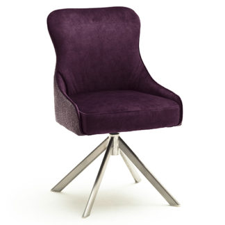 An Image of Hexo Fabric Dining Chair In Merlot And Brushed Oval Frame