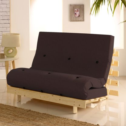 An Image of Metro Pine Wooden 1 Seater Chair/Folding Guest Bed with Brown Futon Mattress - 2ft6 Small Single