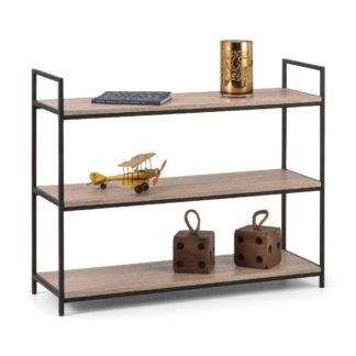 An Image of Tribeca Oak Wooden and Metal Low Bookcase