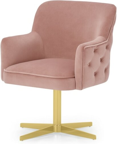 An Image of Upton Office Chair, Vintage Pink Velvet & Brass