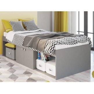 An Image of Arctic Grey Wooden Low Sleeper Storage Bed Frame - 3ft Single