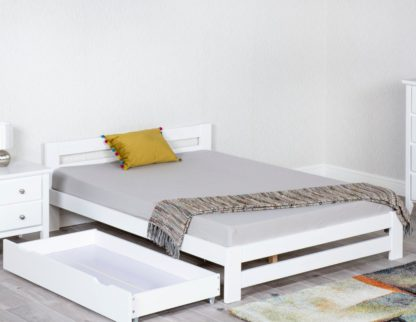An Image of Xiamen White Wooden Bed Frame Only - 4ft Small Double