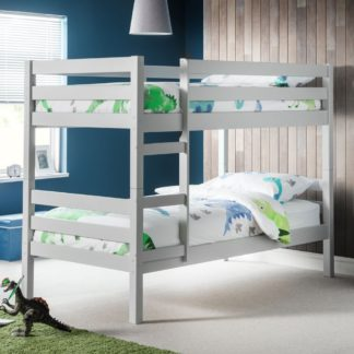 An Image of Camden Dove Grey Wooden Bunk Bed Frame - 3ft Single