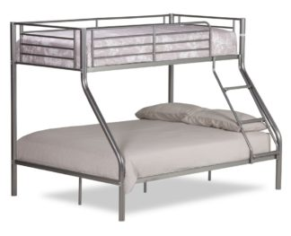 An Image of Twin Sleeper Silver Metal Bunk Bed Frame - 3ft Single Top and 4ft6 Double Bottom