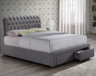 An Image of Valentino Grey Fabric 2 Drawer Storage Bed Frame - 4ft6 Double