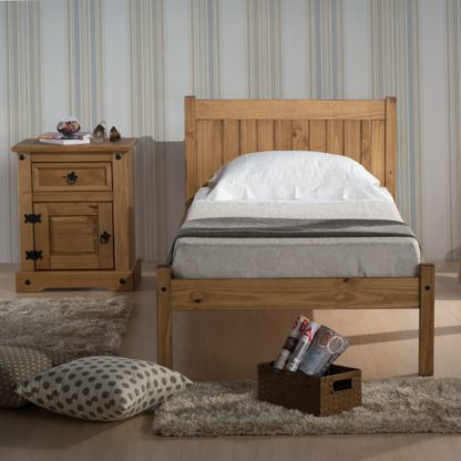 An Image of Solid Pine Wooden Bed Frame 4ft Small Double Rio Waxed