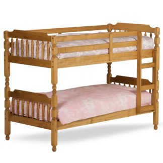 An Image of Colonial Waxed Pine Wooden Bunk Bed Frame - 3ft Single