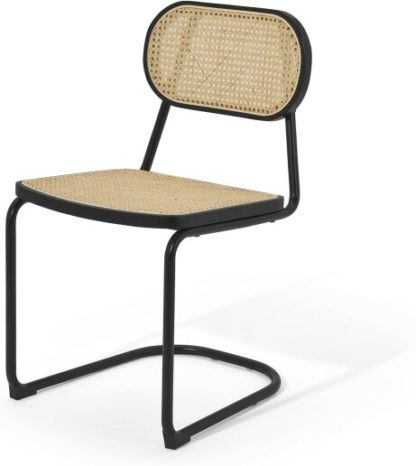 An Image of Leora Dining Chair, Cane & Black