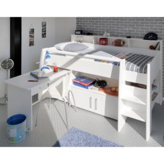 An Image of Swan White Wooden Mid Sleeper Bed Frame - EU Single