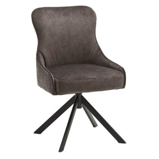 An Image of Hexo Fabric Dining Chair In Cappuccino And Black Oval Frame