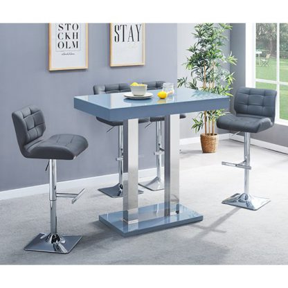 An Image of Caprice Glass Bar Table In Grey With 4 Grey Candid Stools