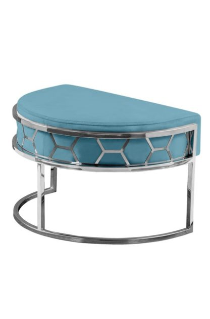 An Image of Alveare Footstool Silver - Teal