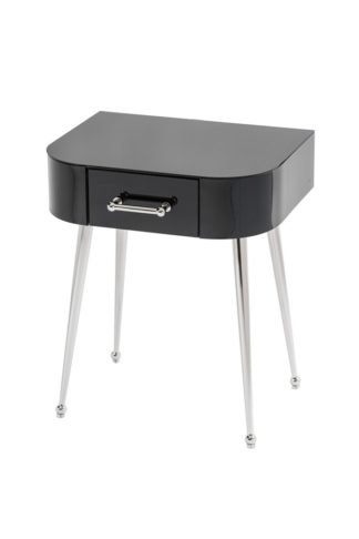 An Image of Mason Black Glass Side Table – Shiny Silver Legs