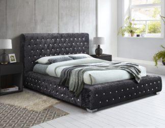 An Image of Grande Black Crushed Velvet Fabric Bed Frame - 5ft King Size