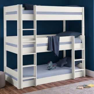 An Image of Trio White Wooden Triple Sleeper Bunk Bed Frame - 3ft Single