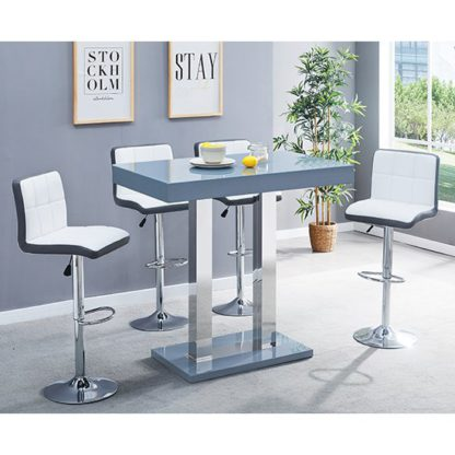 An Image of Caprice Glass Bar Table In Grey With 4 White Grey Copez Stools
