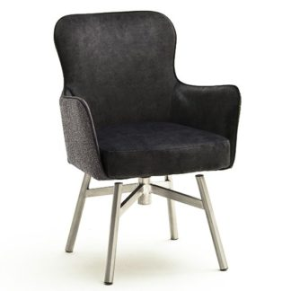 An Image of Hexo Anthracite Fabric Dining Chair With Brushed Round Frame