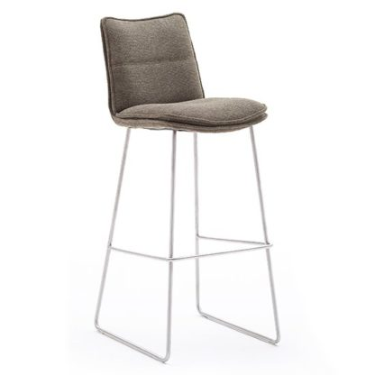 An Image of Ciko Fabric Bar Stool In Cappuccino With Brushed Steel Legs