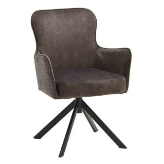 An Image of Hexo Cappuccino Fabric Dining Chair With Black Oval Frame
