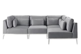 An Image of Cassie Right Hand Corner Sofa – Dove Grey – Stainless Steel Base