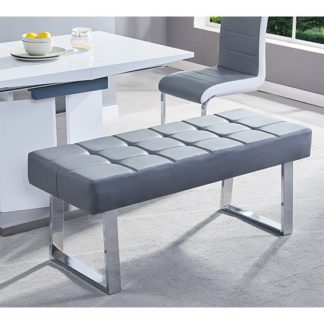 An Image of Austin Dining Bench In Grey Faux Leather With Chrome Base