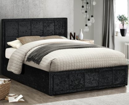An Image of Hannover Black Velvet Fabric Bed Frame - 4ft Small Double